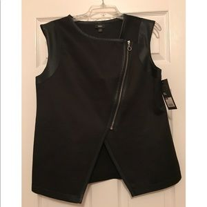 Black Vest with Faux Leather Trim - Size XL